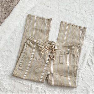 POINT ZERO | Tan stripped wide leg pants size 13